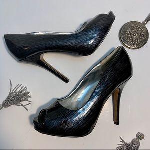 Wild Rose Black Stiletto Peep Toe Pumps Size 8